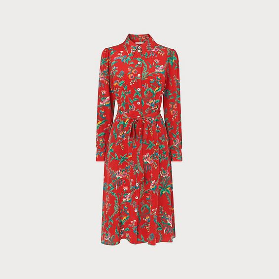 Runa Red Silk Shirt Dress