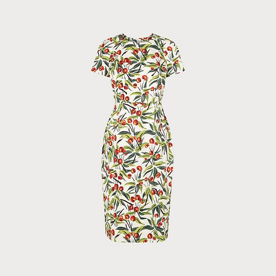 033543f466e Susie Cherry Print Ivory Cotton Shift Dress