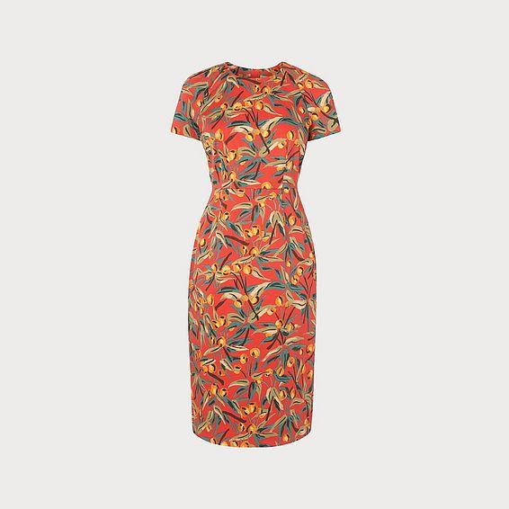 cb1f538e38 Susie Cherry Print Red Cotton Shift Dress