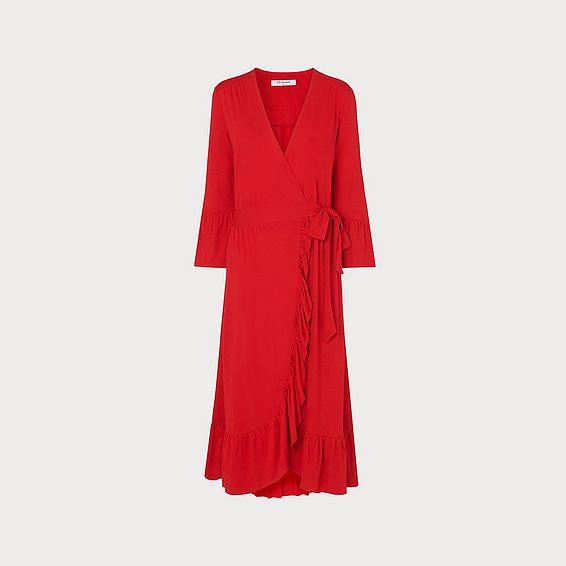 Vika Red Wrap Dress