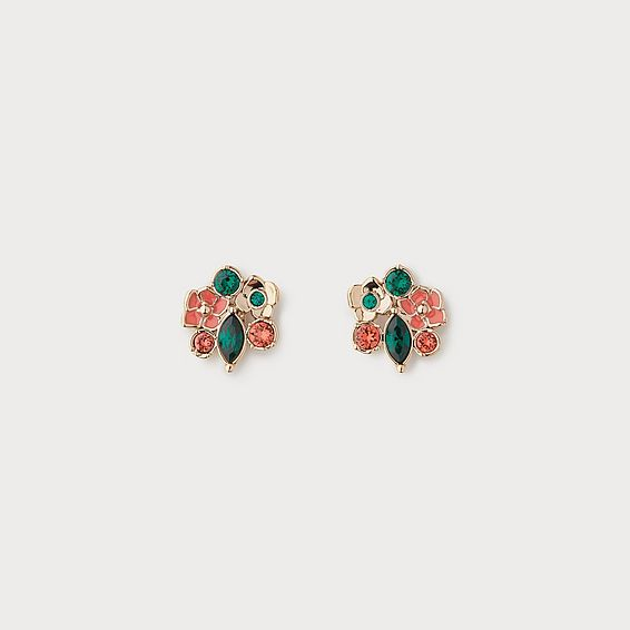 Lara Coral Crystal Flower Cluster Earrings