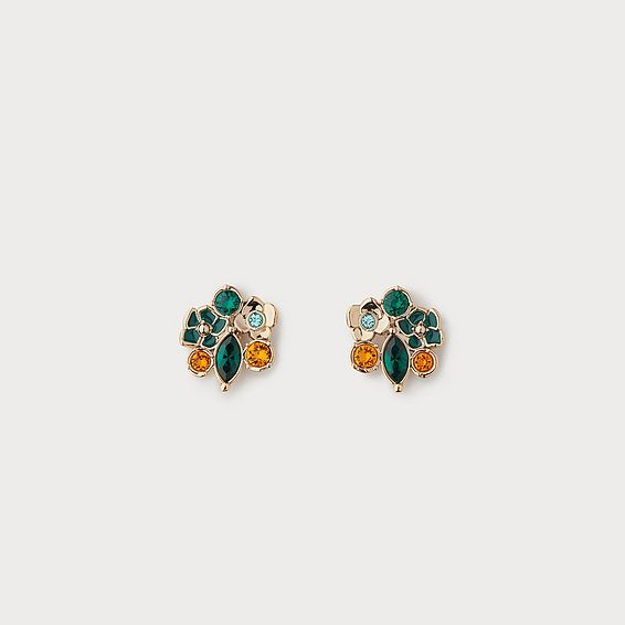 Lara Orange Crystal Flower Cluster Earrings