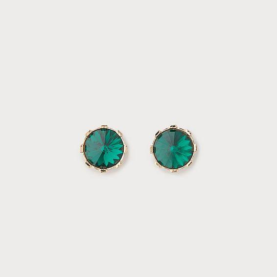 Lauren Green Crystal Stud Earrings
