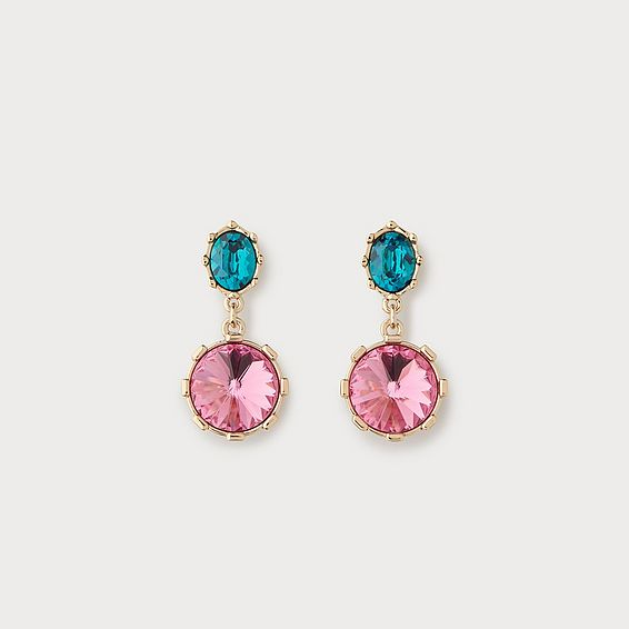 Louisa Pink Crystal Drop Earrings