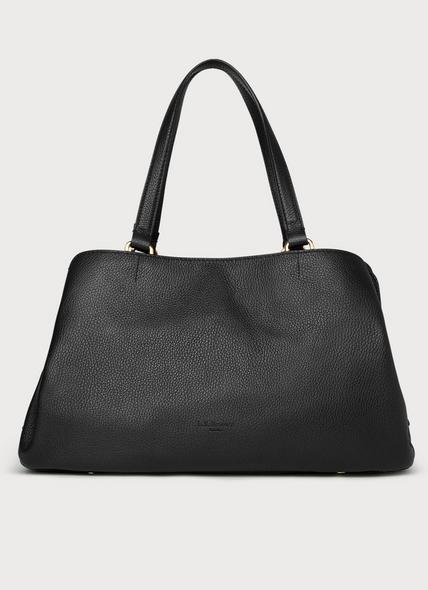 Leighton Black Leather Tote Bag