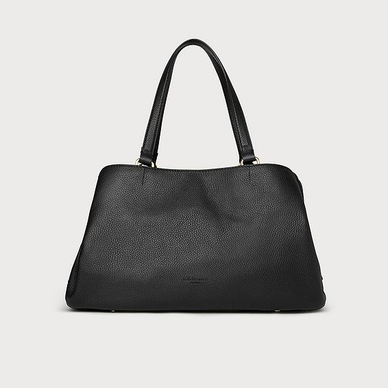 Leighton Black Leather Tote Bag