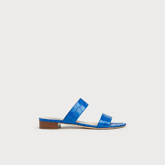 Eveleen Blue Croc Effect Flat Sliders