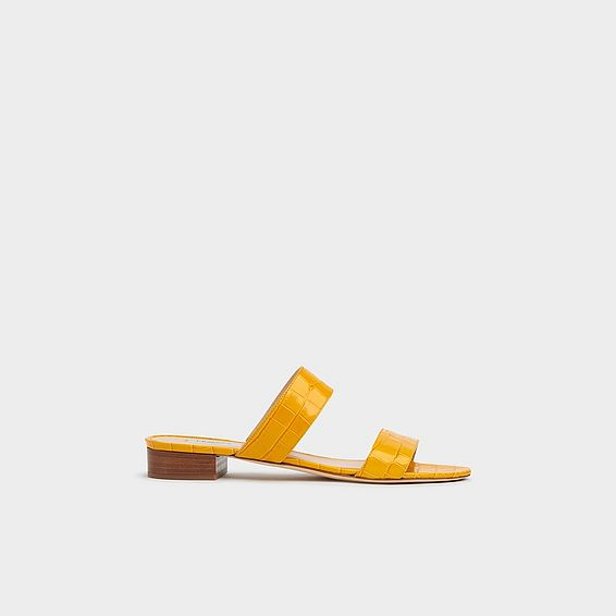Eveleen Yellow Croc Effect Flat Sliders