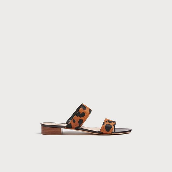 Eveleen Leopard Print Calf Hair Sliders