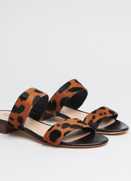 Eveleen Leopard Print Calf Hair Sliders