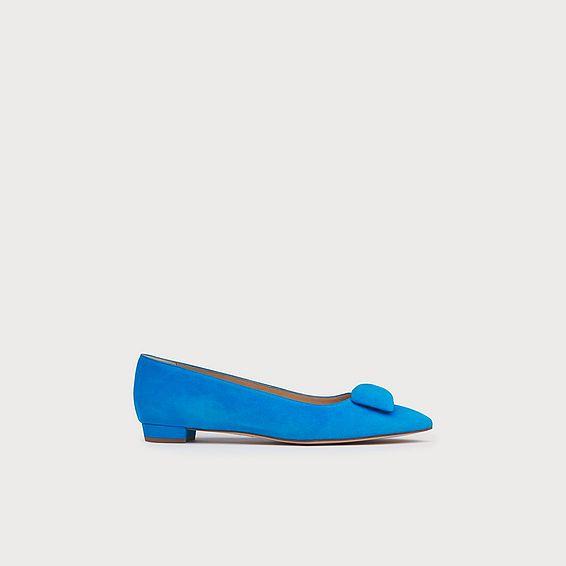 Jacqui Blue Suede Flats