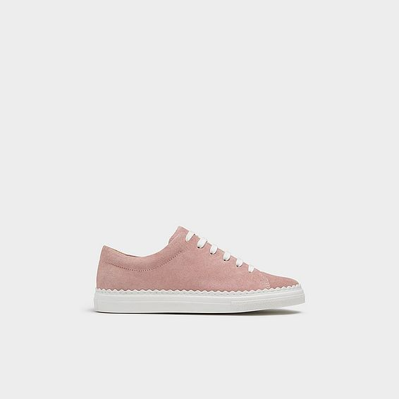 Jana Pink Suede Lace Up Trainers