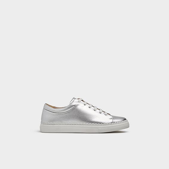 Jana Silver Leather Lace Up Trainers