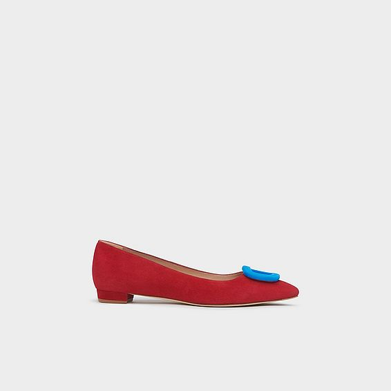 41289c633899 Janice Red Suede Buckle Flats