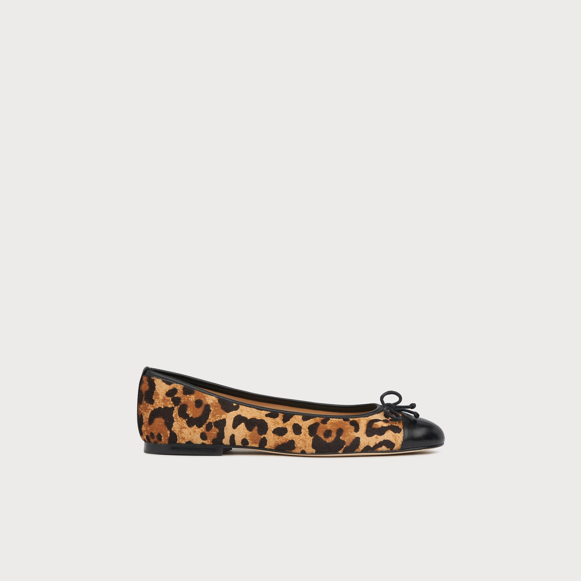Kara Leopard Print Calf Hair Ballerina Pumps