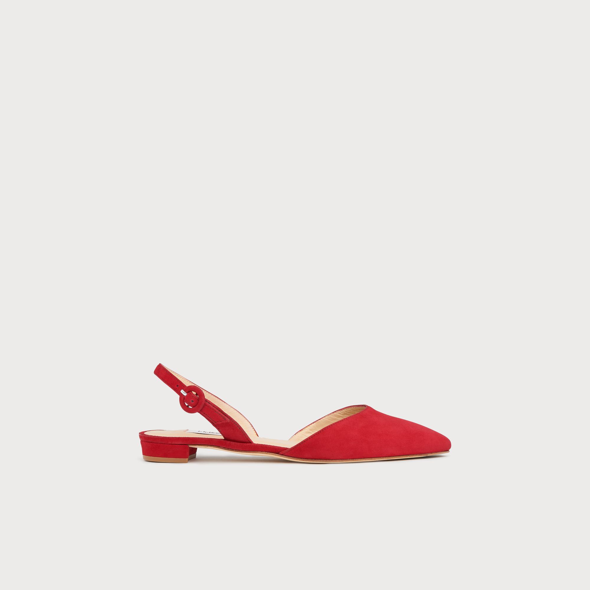 5d069ca16fe30 Leanne Red Suede Flat Slingbacks | Shoes | L.K.Bennett