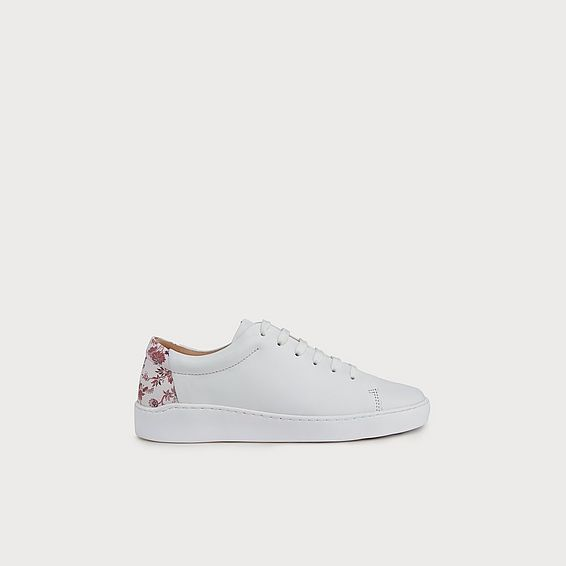Leora White Leather Lace Up Trainers