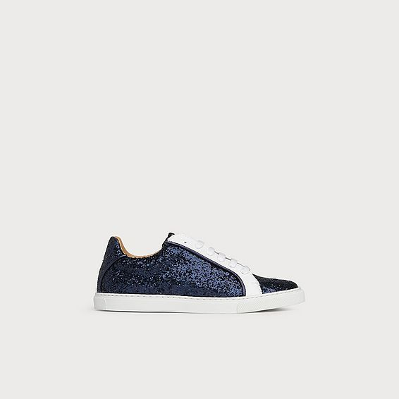 Liza Navy Glitter Lace Up Trainers