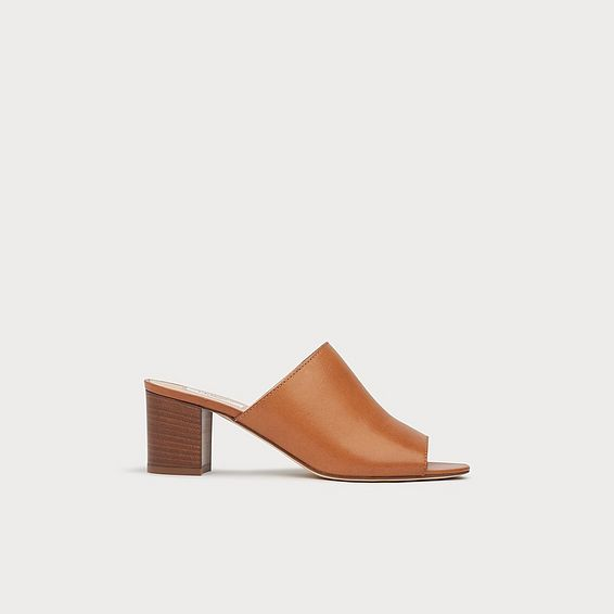 Carola Tan Leather Stack Heel Mules