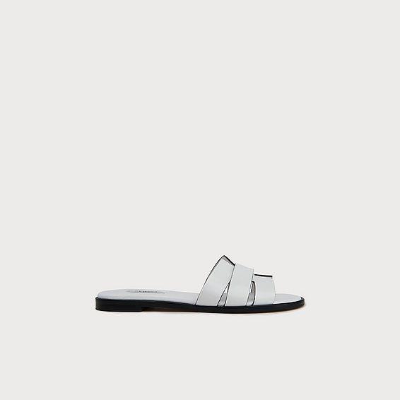 Crissy White Leather Criss-Cross Sliders