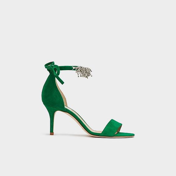 310ae3608cf0 Elektra Green Suede Crystal Sandals