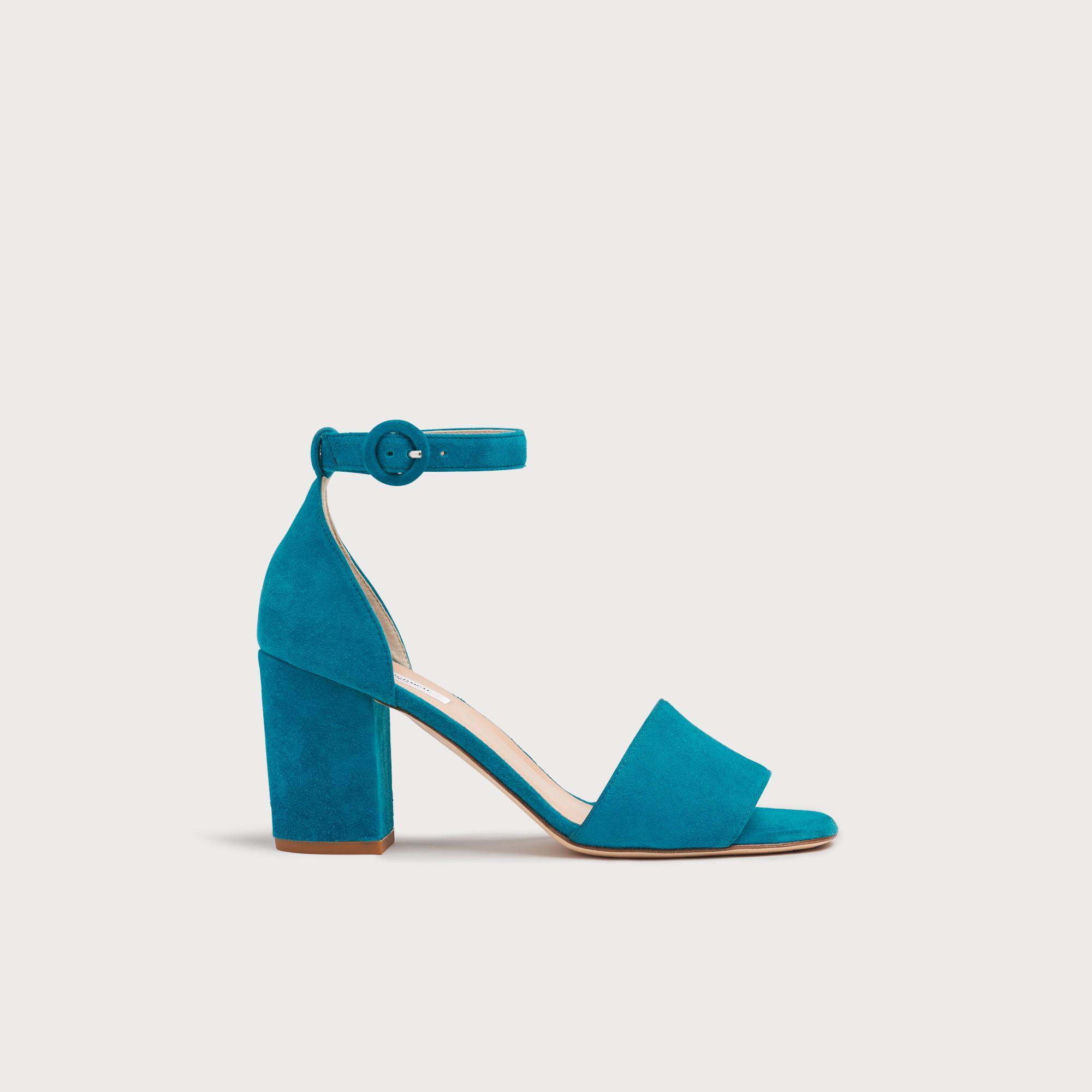 cff9c749021 Hester Turquoise Suede Block Heel Sandals