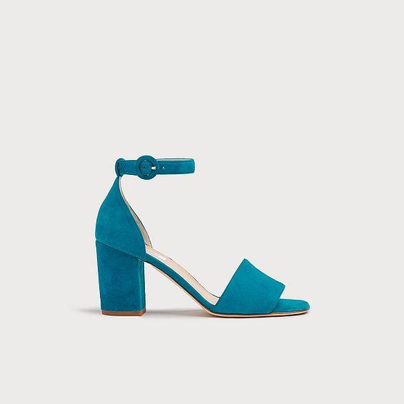 Hester Turquoise Suede Block Heel Sandals