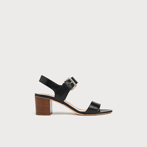 Pelham Black Leather Stacked Heel Sandals