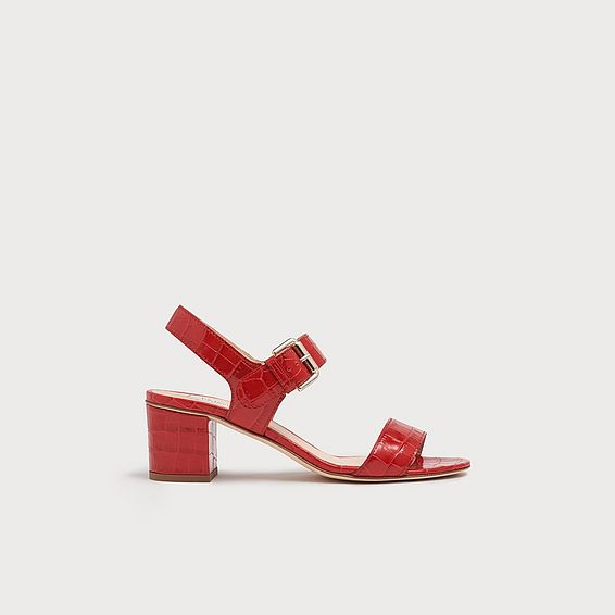 Pelham Red Croc Effect Leather Sandals