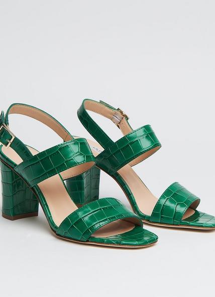 Rhiannon Green Croc Effect Sandals