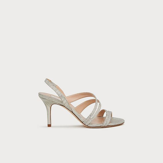 43a66111de1 Valeria Silver Lizard Effect Leather Strappy Sandals