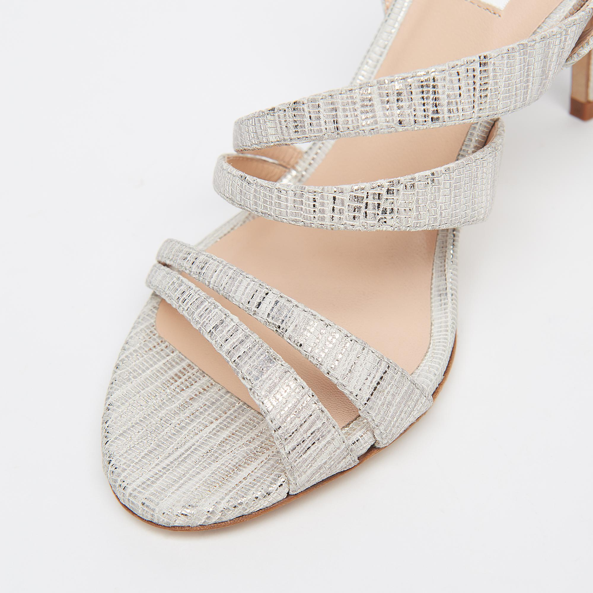 35de42e8f64 Valeria Silver Lizard Effect Leather Strappy Sandals