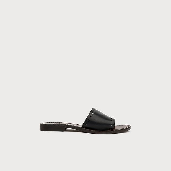 Venchi Star Cut-Out Black Leather Sliders