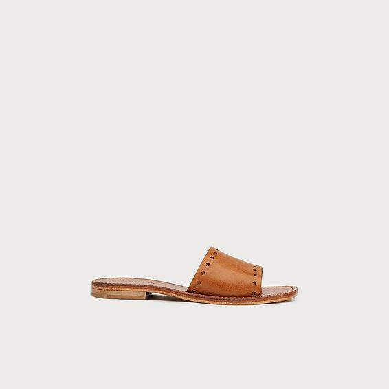 Venchi Star Cut-Out Tan Leather Sliders