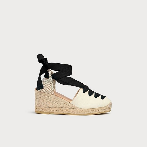 Martha Monochrome Lace Up Espadrilles