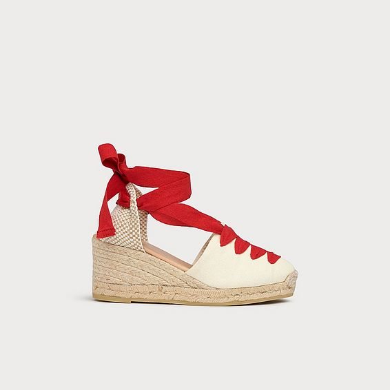 Martha Red White Lace Up Espadrilles