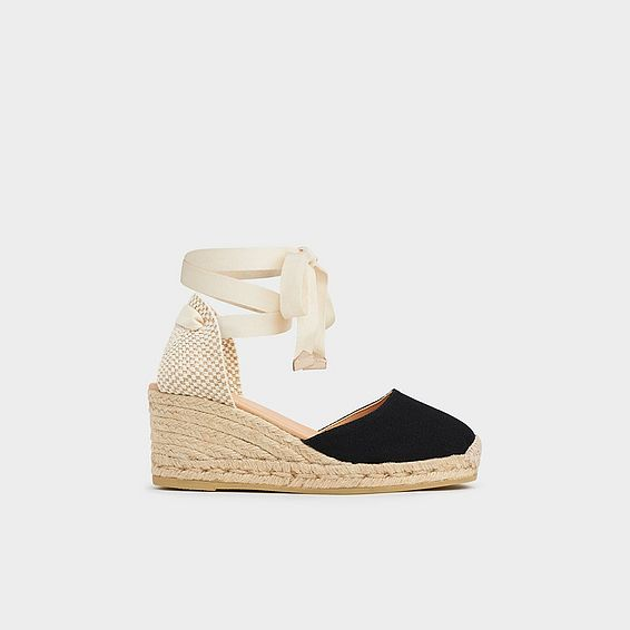 Maureene Black Canvas Espadrilles