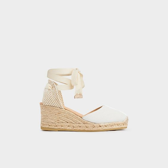 Maureene White Canvas Espadrilles