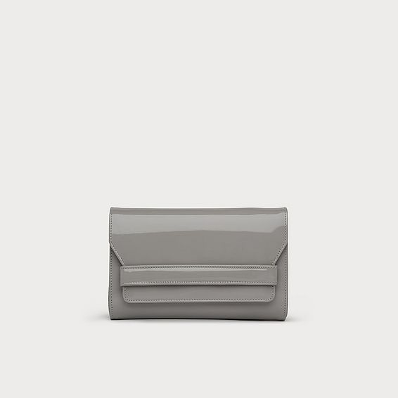 8a869adf21 Ella Small Grey Patent Clutch