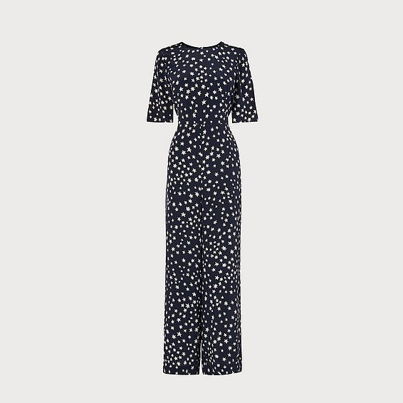 Loren Navy Star Print Silk Jumpsuit