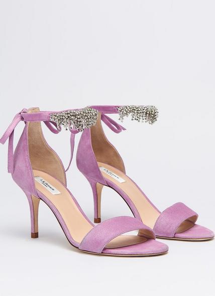 Elektra Lilac Suede Crystal Sandals