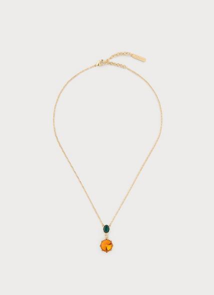 Lottie Orange Crystal Drop Necklace