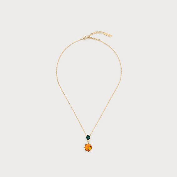 Lottie Orange Crystal Drop Necklace