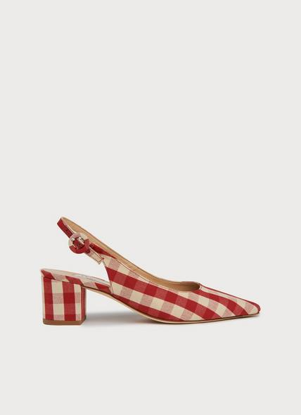 Ada Red Ivory Block Heel Slingbacks