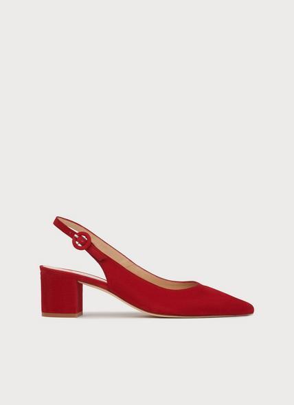Ada Red Suede Block Heel Slingbacks