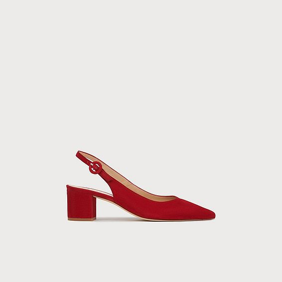 Ada Red Suede Block Heel Slingbacks