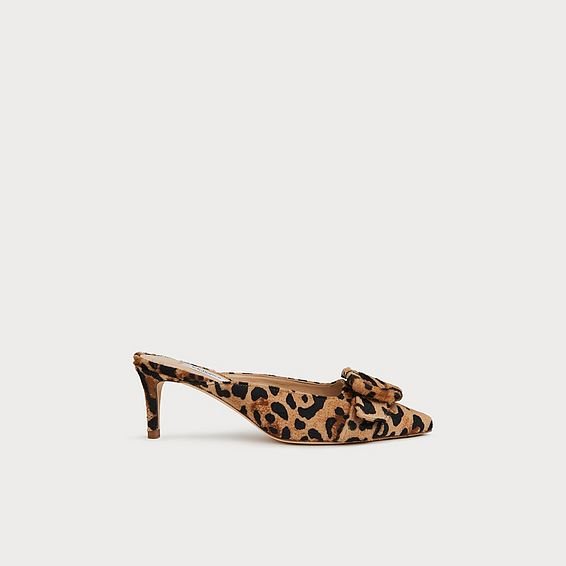 f45673507709 Delia Leopard Print Calf Hair Mules