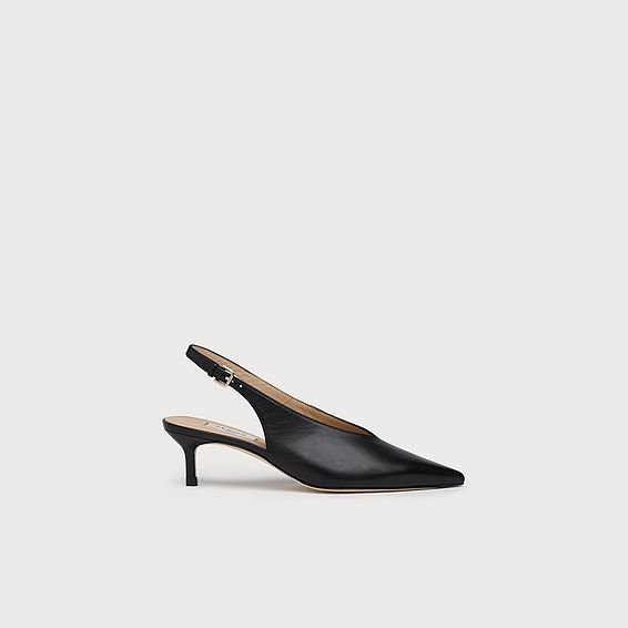 Livia Black Leather Slingbacks