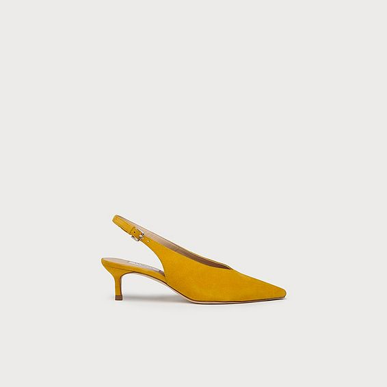 Livia Yellow Suede Slingbacks
