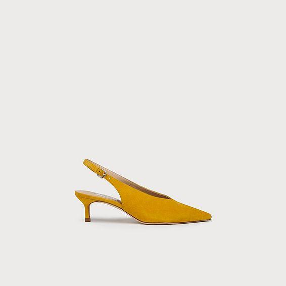 Livia Yellow Suede Slingbacks